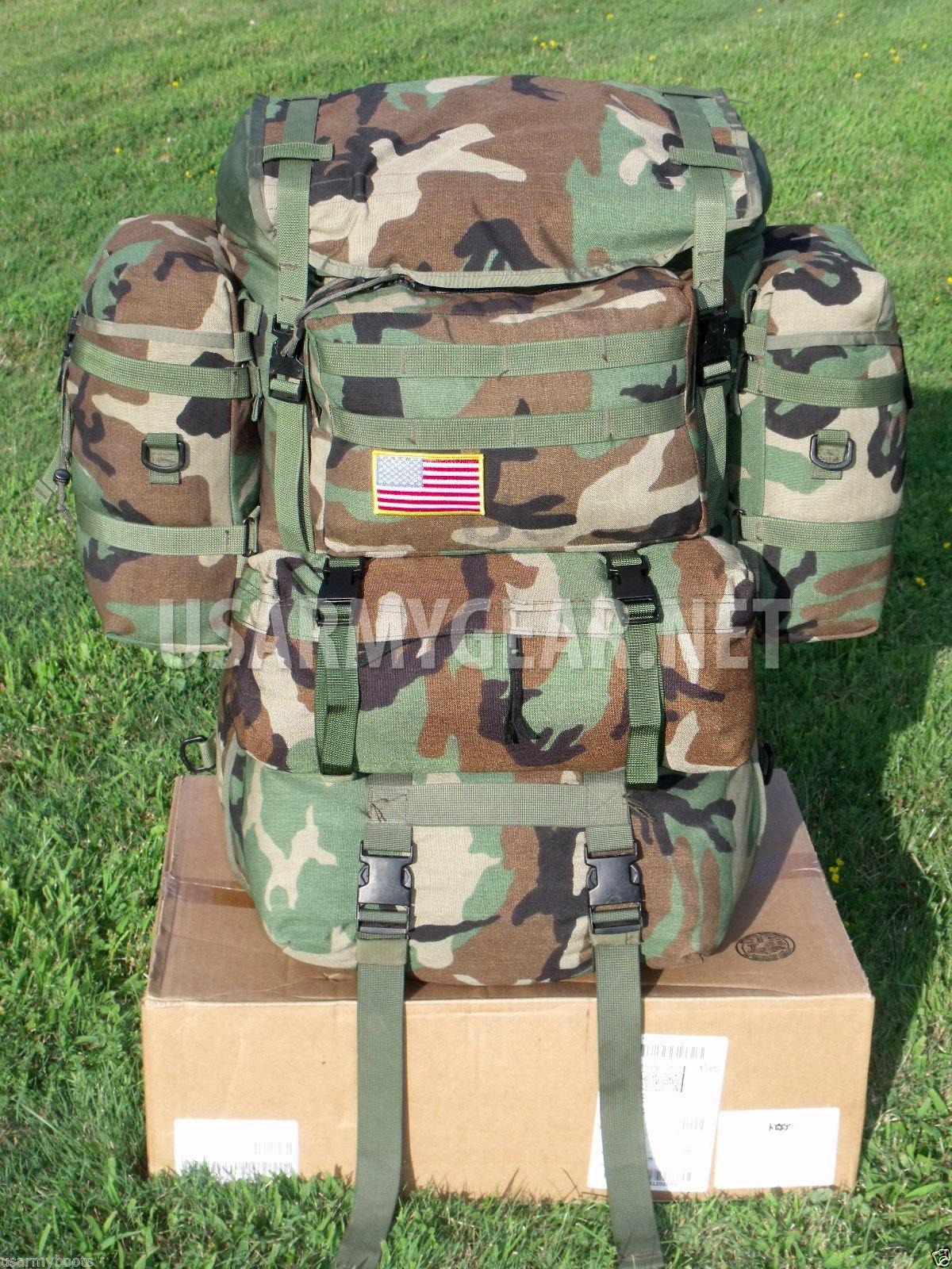 MOLLE GEN 4 TAN FRAME w// WOODLAND SHOULDER STRAPS and KIDNEY PAD Rifleman SET
