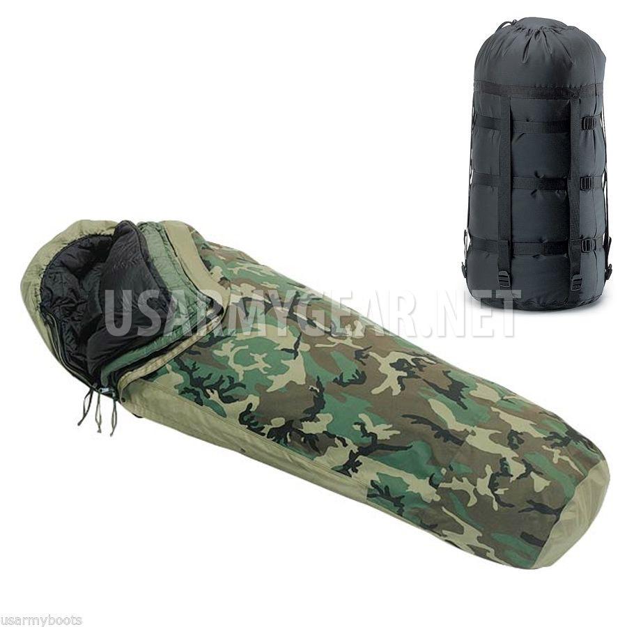 4 Pcs Goretex Military Woodland Modular Sleep System Bivy Patrol Sleeping Bag Us Army Gear
