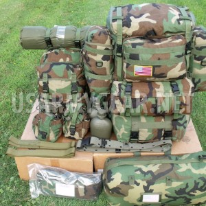 US Army Molle 2 Large Ruck Sack Assault Back Pack Vest Belt Woodland Rifleman ++