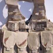 Loaded US Army MOLLE II Desert Tan Fighting Vest FLC LBV 4 Double Pouch 2 K Bar