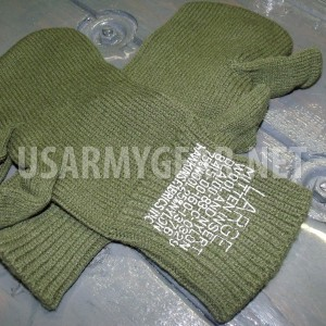 New Warm US Army Wool ECWCS Trigger Finger Mitten Inserts OD Liner Gloves L USGI