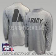 US ARMY Grey Moisture Wicking PT PTU Long Sleeve LS T-Shirt