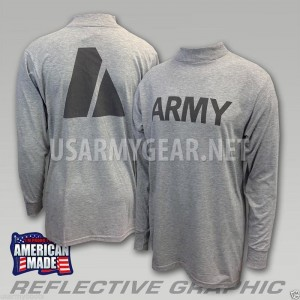 US ARMY Grey Moisture Wicking PT PTU Long Sleeve LS T-Shirt