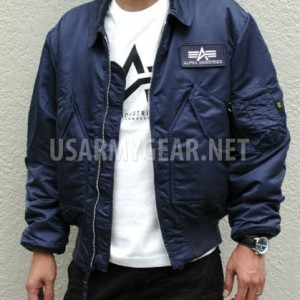 Made in USA Alpha Industries CWU-45P Pilot, Bomber, Flight Jacket, Dark Blue