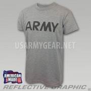 US ARMY Grey Moisture Wicking PT PTU Short Sleeve SS T-Shirt