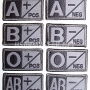 US Army Military ACU Grey Black Velcro Blood Type Patches A B AB 0 O Neg - Pos +