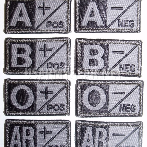 US Army Military ACU Grey Black Velcro Blood Type Patches: A, B, AB, O, Neg  -, Pos +