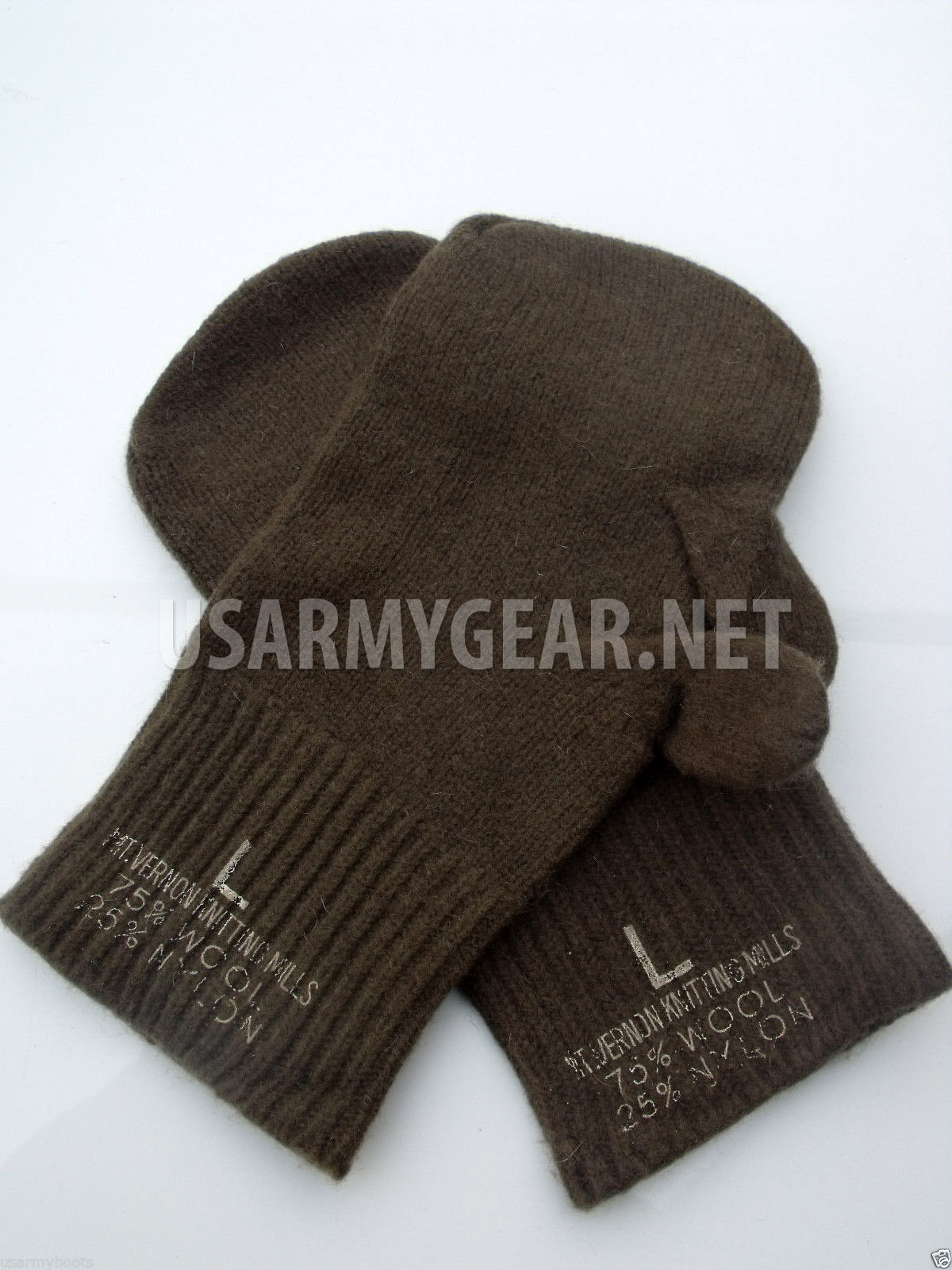 Us Army Military Old School Od Wool Trigger Finger Mitten