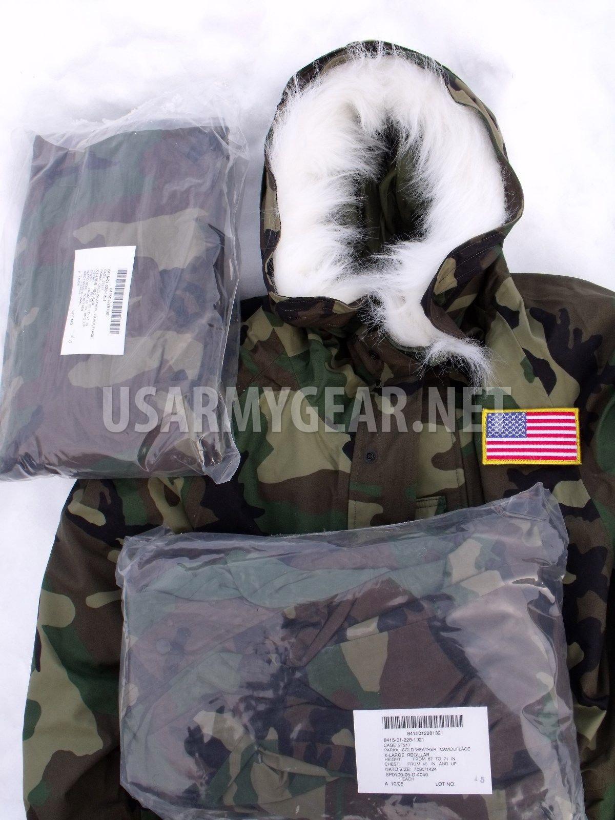 Lot of 10 US Military GORETEX PARKA FUR RUFF ECWCS Cold Weather WOODLAND Medium