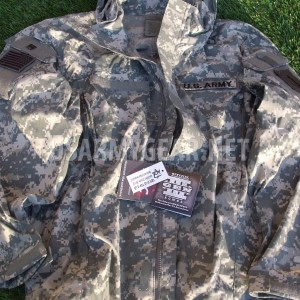 US ARMY EWCS Gen 3 Level 5 Soft Shell Cold Weather Jacket ACU Rain Coat Hood L/R