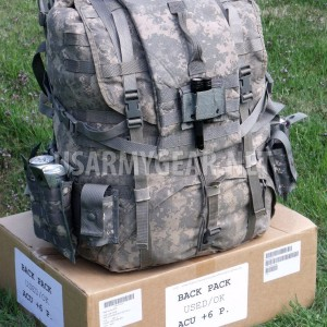 Loaded US Army ACU Ruck Sack Back Pack Frame Belt Straps Hydration + 8 Pouch GI