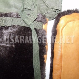 Arctic US Army Insulated Extreme Cold Weather Leather Fur Mittens Trigger Gloves