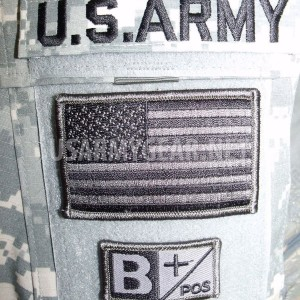 US Army Tab Military ACU Flag Velcro Blood Type Patches A B AB 0 O Neg - Pos +