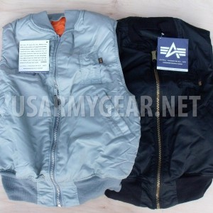 Made in USA ALPHA Industries Air Force Army Pilot Flight Reversible Vest [MA-1]
