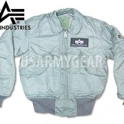Made in USA Alpha Industries CWU-45P Military Bomber Flight Jacket Silver