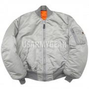 NEW MA-1 Alpha Industries US Army Pilot Flight Military Bomber AF Jacket Silver