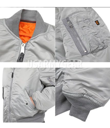 55ac5e48663 03 · 08NEW MA-1 Alpha Industries US Army Pilot Flight Military Bomber AF Jacket  Silver