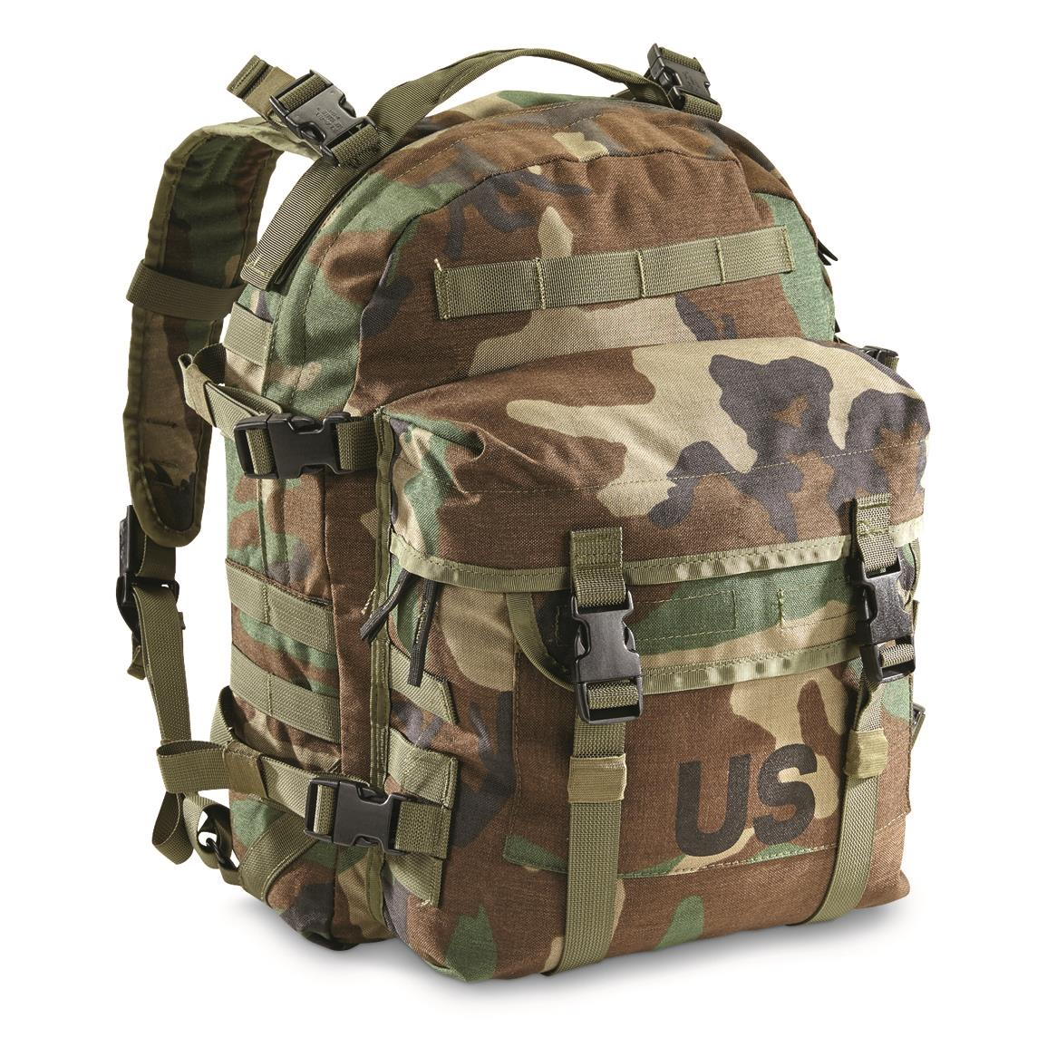 NEW USGI US Military Army MOLLE II Woodland Camo 3 Day Assault Pack,  Backpack